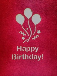 Red Happybirthday card with balloon design