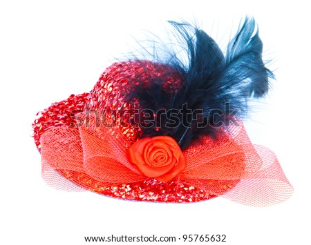 red hat with red rose and birds feather