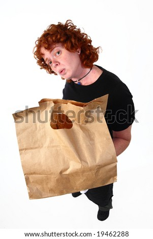 Red Head woman holding paper take away bag