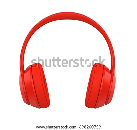 Red Headphones Isolated. 3D rendering