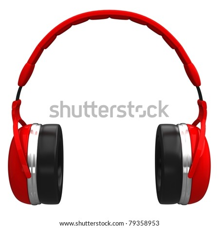 Red headphones isolated on a white background.