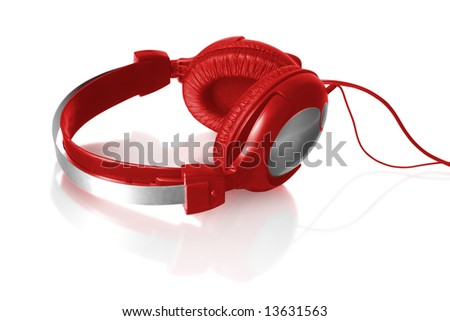 red headphones with reflection isolated on white