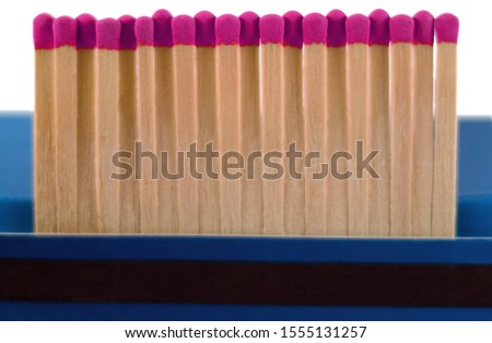 Red Heads Match isolated in white background. Matches box.