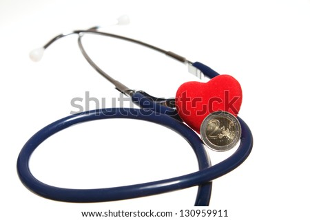 Red heart and a blue stethoscope on white background