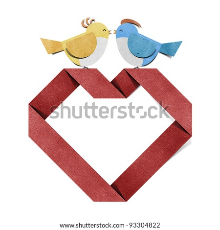 red heart and bird recycled paper craft