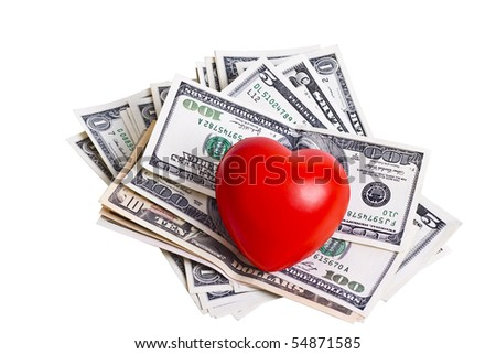 red heart and dollar bills isolated on white background