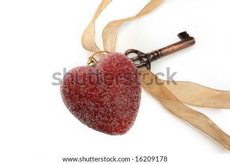 Red heart and key ornament with ribbon