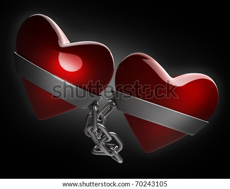Red heart and silver chain isolated on black 3d render