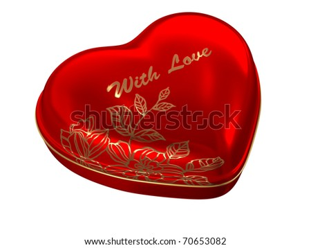 "Red heart box ""with love"" - stock photo"