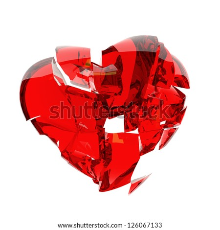 red heart broken into peaces
