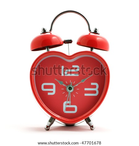 red heart clock with bell on white background