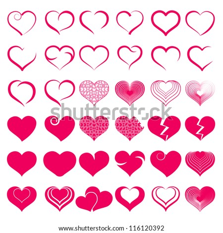 Red heart collection icon, love symbol, isolated on white, vector #116120392