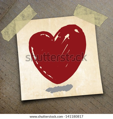 red heart draw on short note paper on the packing paper box texture background