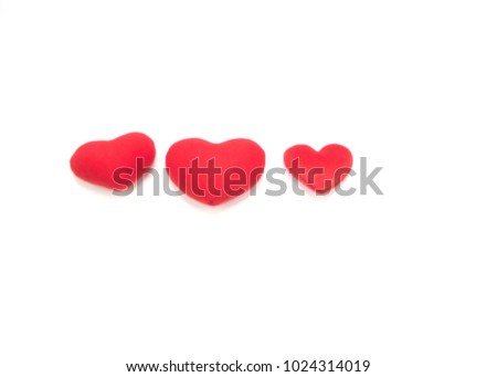 Red heart flower on the day of love  white background #1024314019