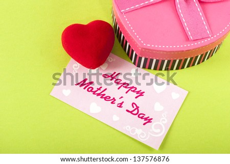 Red Heart heart shaped gift box with a mothers day card