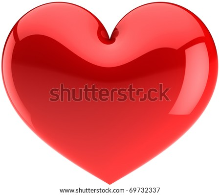 Red heart icon. I Love You symbol classic. Beautiful glossy Valentines Day design element. This is a detailed render 3d (Hi-res). Isolated on white background