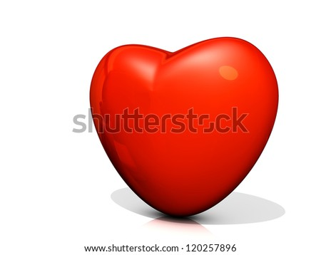 Red Heart icon on a shiny white background.