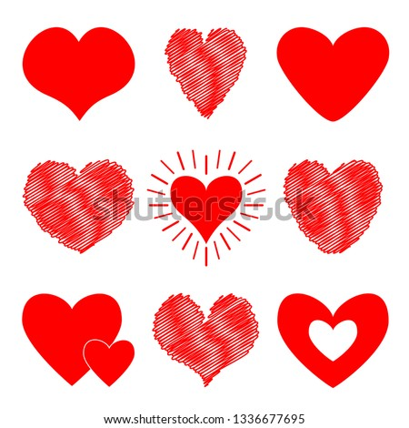 Red heart icon set. Happy Valentines day sign symbol template. Different shape. Paper and scribble line effect. Cute graphic object. Flat design. Love greeting card. Isolated. White background.