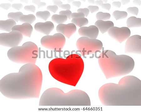 Red heart in a crowd of white hearts on white background. Three dimensional illustration.