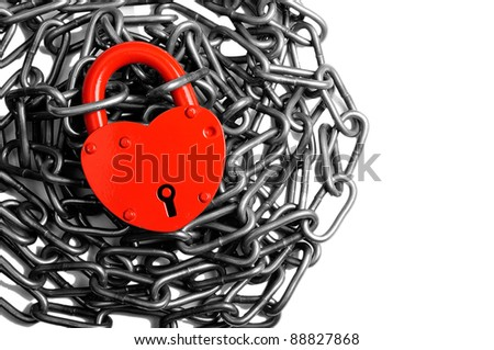 Red heart in a lock, put in a chain. Is isolated.