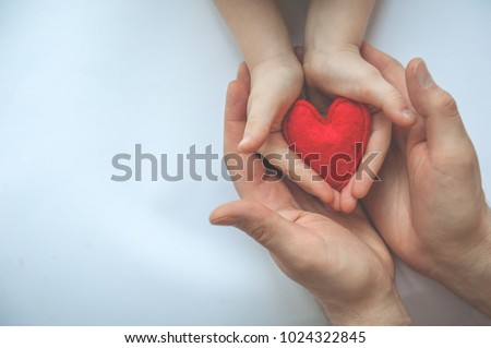 Red heart in hands - mother or dad and child. Valentine's day. Mother's Day. Love and health care. Family insurance. Top view.