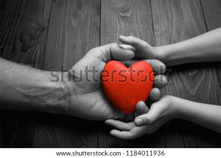 red heart in hands on a dark background, the concept of love and care for loved ones and needy.black and white. #1184011936
