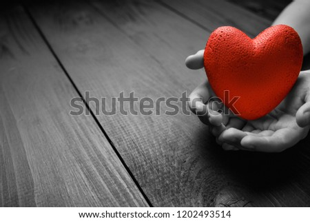 red heart in hands on a dark background, the concept of love and care for loved ones and needy.black and white. #1202493514