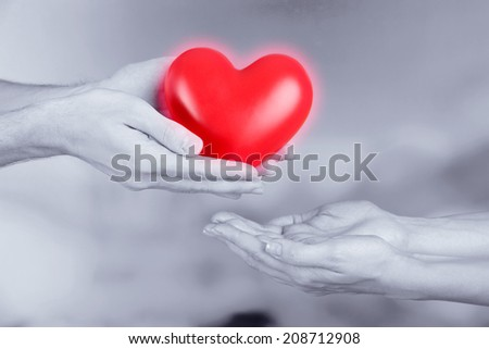 Red heart in hands on grey background #208712908