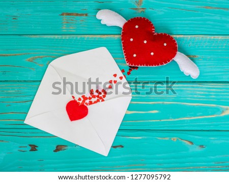Red heart in love jumped out of envelope on valentines day #1277095792