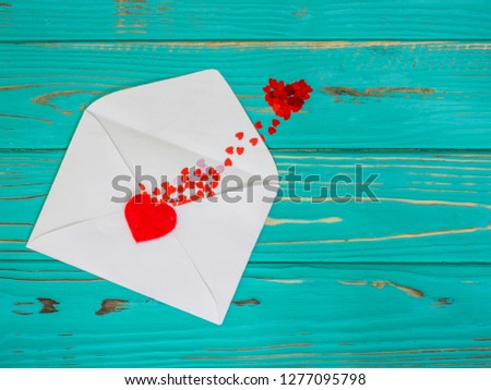 Red heart in love jumped out of envelope on valentines day #1277095798