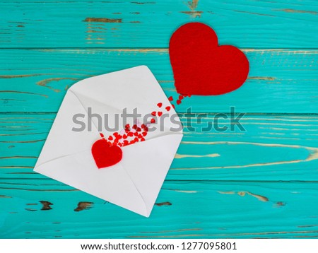 Red heart in love jumped out of envelope on valentines day #1277095801