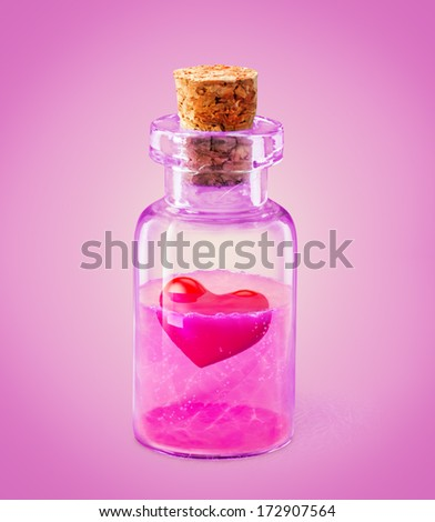Red heart in the glass vessel Elixir of love