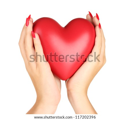 Red heart in woman's hands isolated on white - stock photo