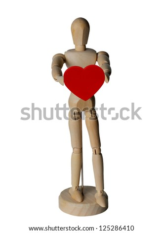 red heart in wooden doll hand,Valentine's day
