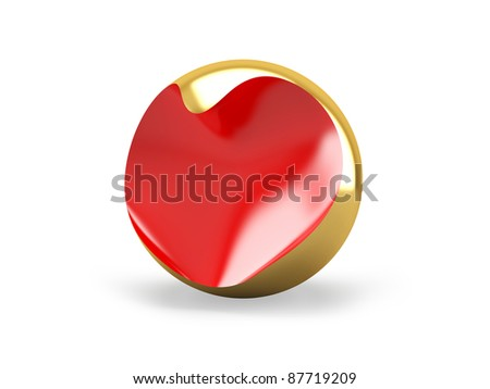 Red heart into a gold ball. Abstraction