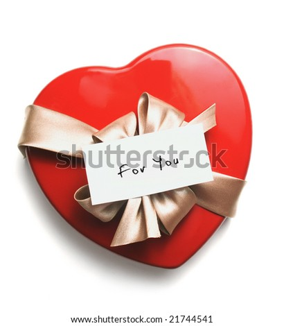 red heart isolated with ribbon and notice. - stock photo