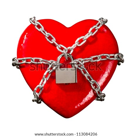 Red heart locked on padlock. Isolated