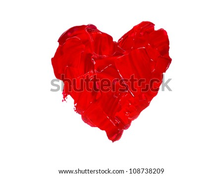 Red heart love. Art oil(acryl) paints.