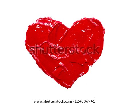 Red heart love Art oil acryl paints