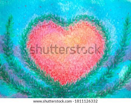 red heart love mind couple spiritual art watercolor painting illustration design flower floral spirit