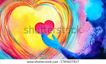 red heart love mind mental flying healing in universe spiritual soul abstract health art power watercolor painting illustration design
