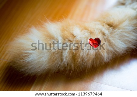 red heart love sticker on cat tail #1139679464