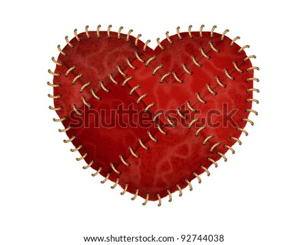 Red heart made from leather with stitched on white background