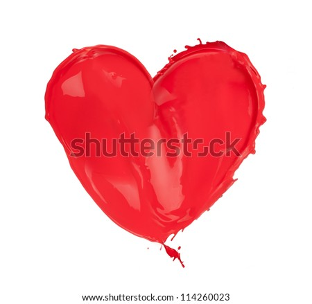 Red heart made of paint splashes, isolated on white background - stock photo