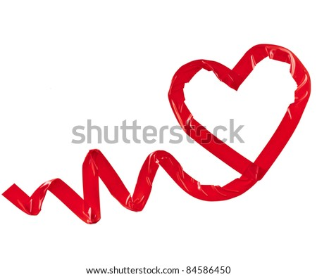 red heart of adhesive tape isolated on white