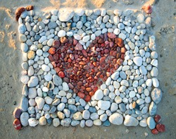Red Heart of Pebbles
