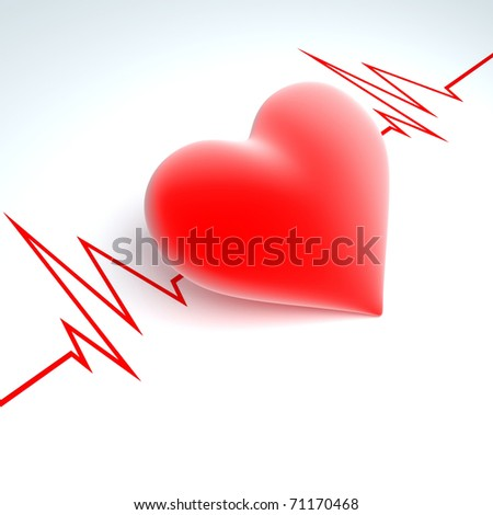 Red heart on a background a cardiogram