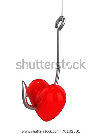 Red heart on a fishing hook isolated on white background