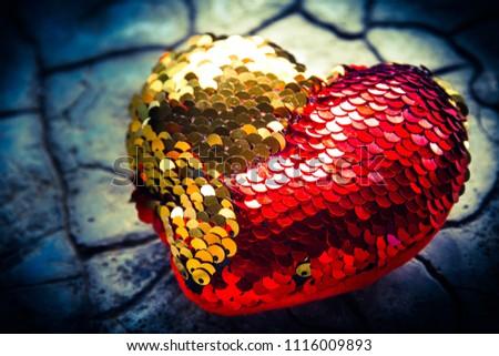 Red heart on floor,Love heart, Love concept #1116009893
