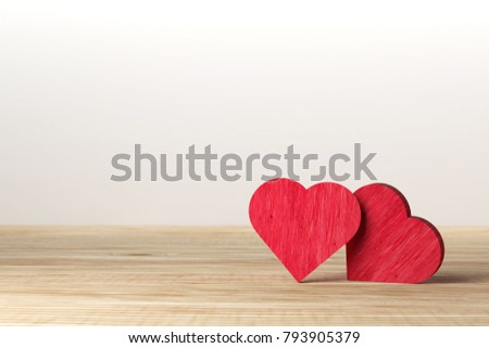 Red heart on wooden background. Valentine day. love concept. #793905379